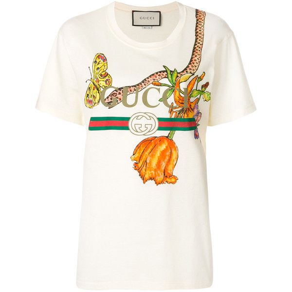 95e558cf749 Gucci Gucci Logo T-shirt with floral and snake print ( 616) ❤ liked on Polyvore  featuring tops