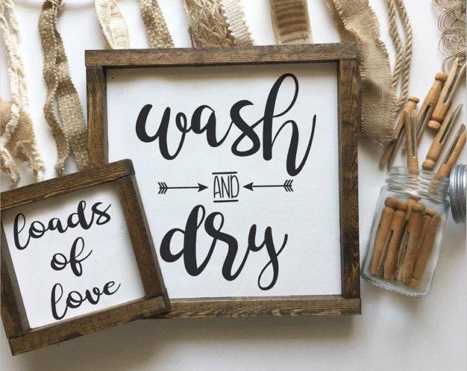 Laundry Room Sign Wash Dry Wood Farmhouse Decor