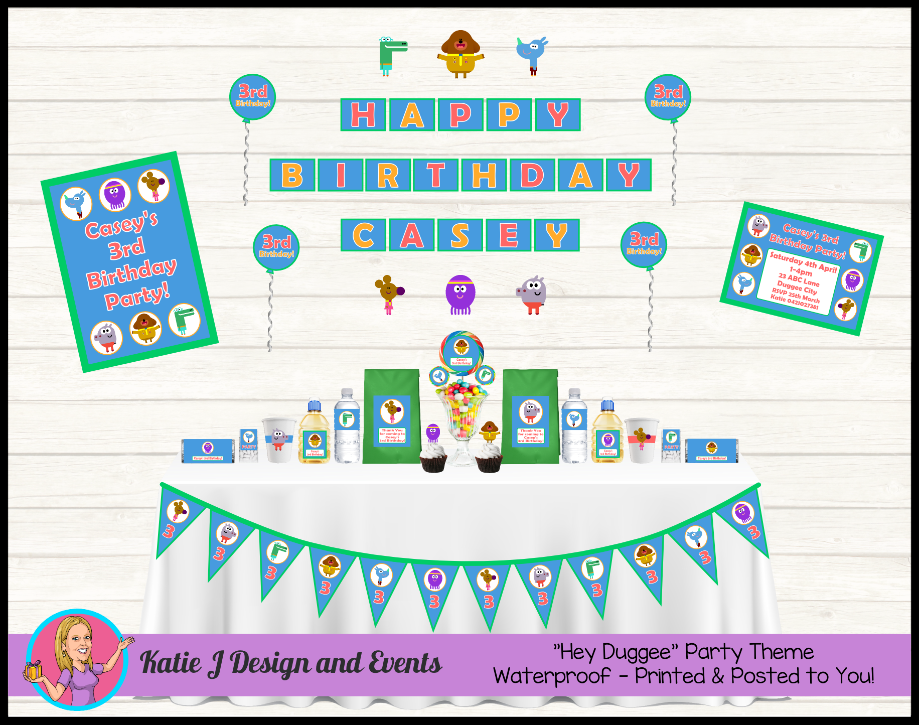 Hey Duggee Personalised Birthday Party Decorations Supplies Packs Shop Online Australia Banners Bunting Wall Display Cupcake