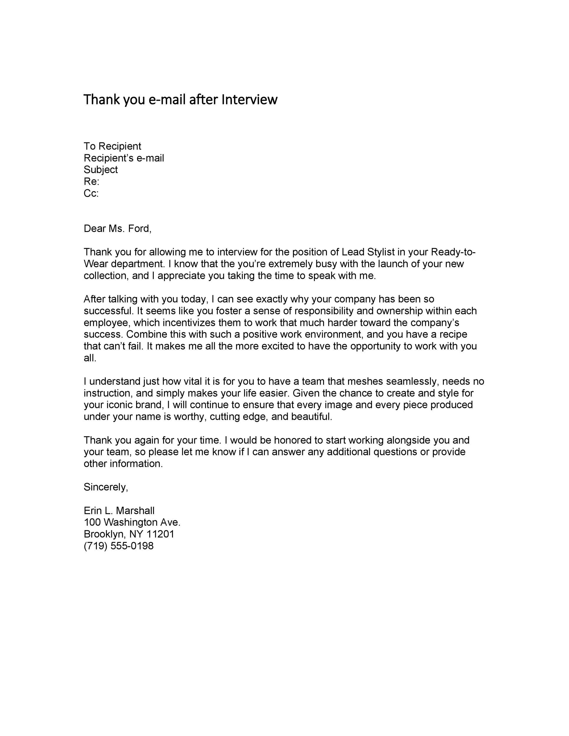 Thank You Letter To Recruiter In 2021 Letter After Interview Thank You Letter Sample Thank You Letter Interview thank you email template