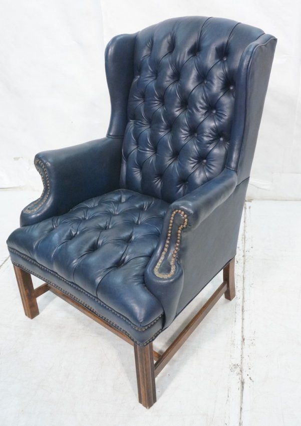 Blue Leather Wingback Chair Furniture Home Improvement Ideas
