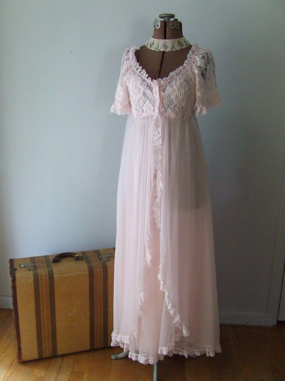 Vintage Tosca Lingerie Pink Chiffon Peignoir Set Gown Long