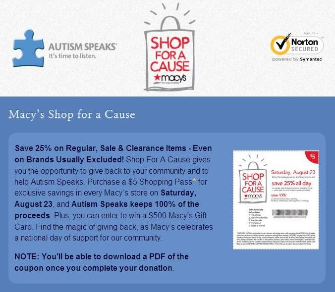 AUTISM SPEAKS & MACY'S: If you're planning on doing any 'Back-to-School' shopping for the kiddies or shopping in general tomorrow, don't forget to support 'Shop For A Cause' @ Macy's. Autism Speaks will receive 100% of the proceeds this time. It's not too late to purchase your $5.00 shopping pass online, but this effort is for one day only--Saturday, August 23rd. See the link for details...