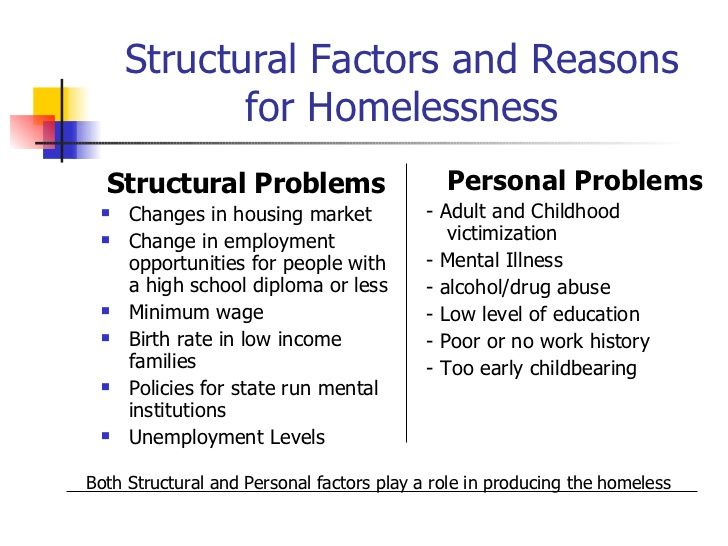 the causes of homelessness and ways to solve this problem You want to solve problems homeless people have problems, they are not the problem your article doesn't distinguish between them, but i think it should because the two motivations lead to very different approaches to solving homelessness, and should probably be dealt with separately.