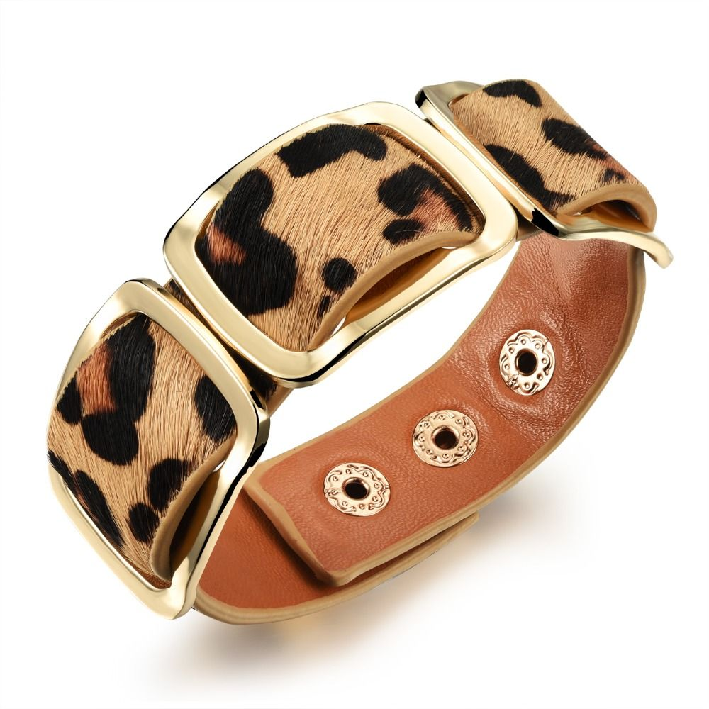 Leather woman bracelets u bangles european u american blackorange