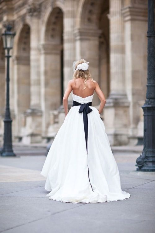 Black And White Wedding Dress With Black Sash And Bow Wedding