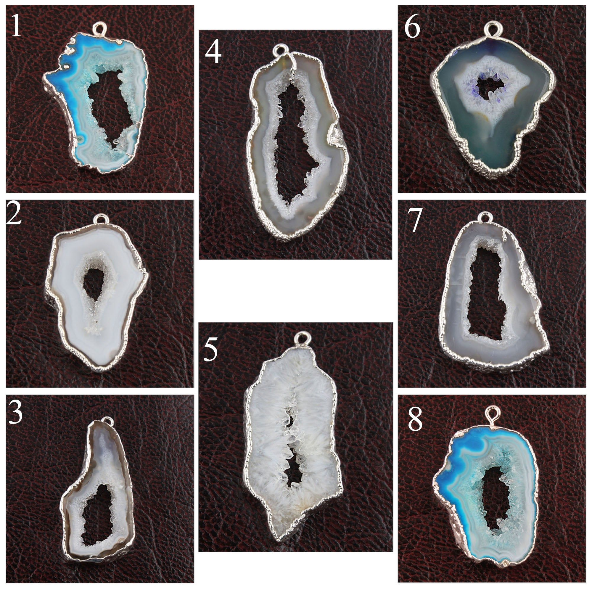 Single Bail Connectors Natural Agate Geode Slice Silver Plated DIY Pendants