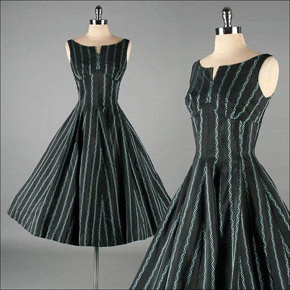 Vintage 1950s Dress  Black with Turquoise by millstreetvintage, $165.00