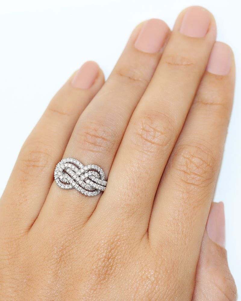 infinity knot diamond engagement ring deluxe double