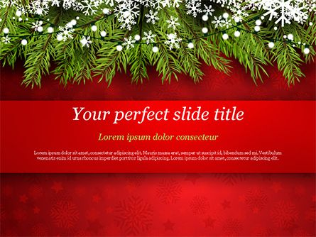 Christmas Tree Branches And Snowflakes Powerpoint Template