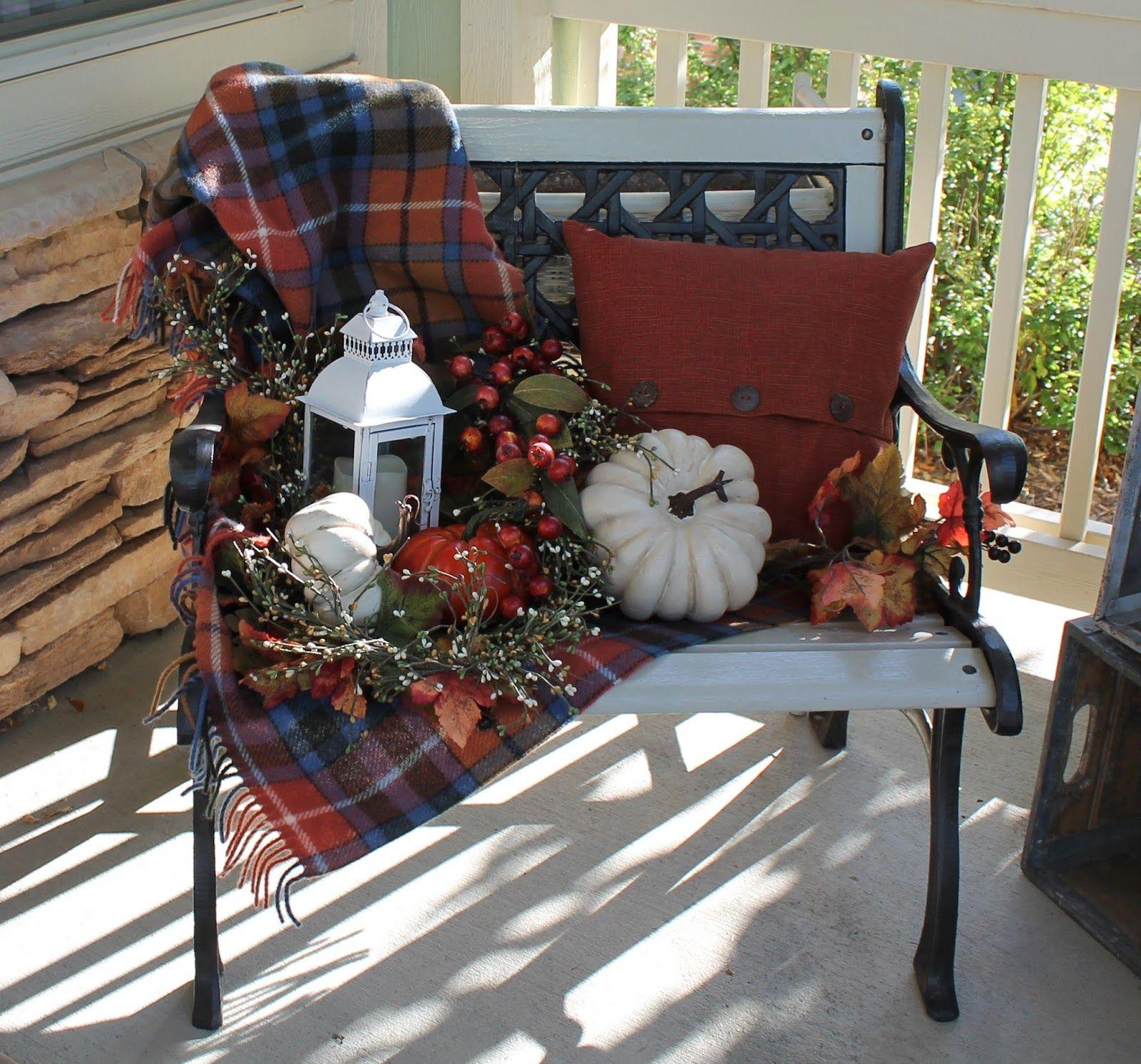 Fall Bench Herbst Veranda Dekorationen