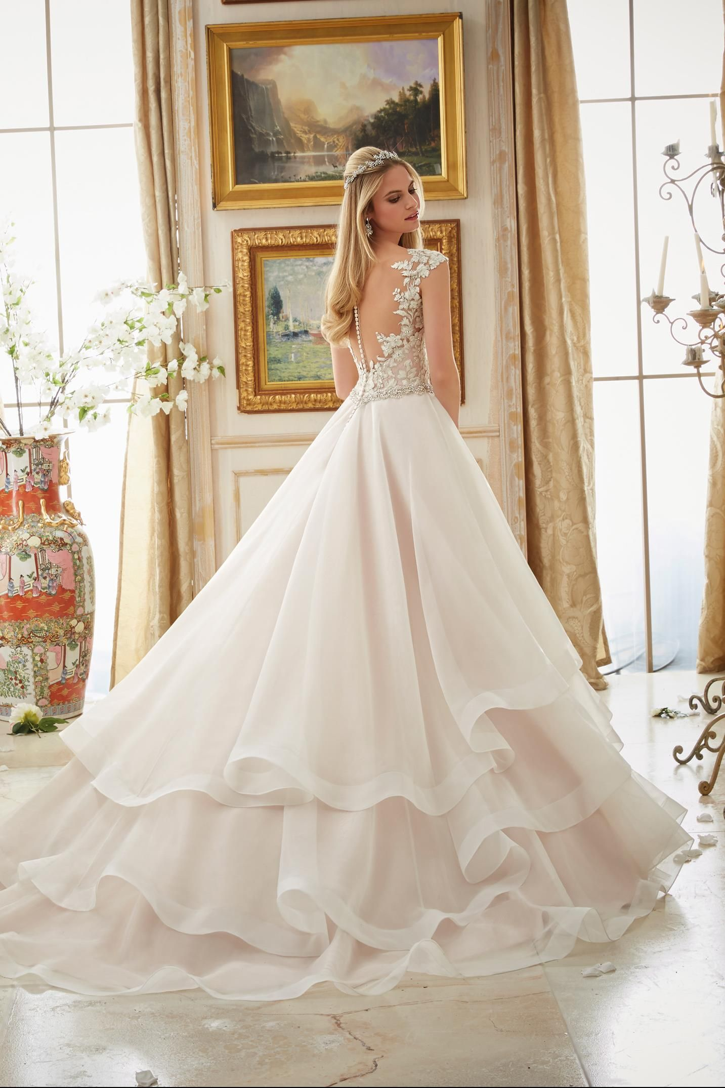 Mori Lee 2895 Mori Lee Bridal V Neck Ruffled Ball Gown