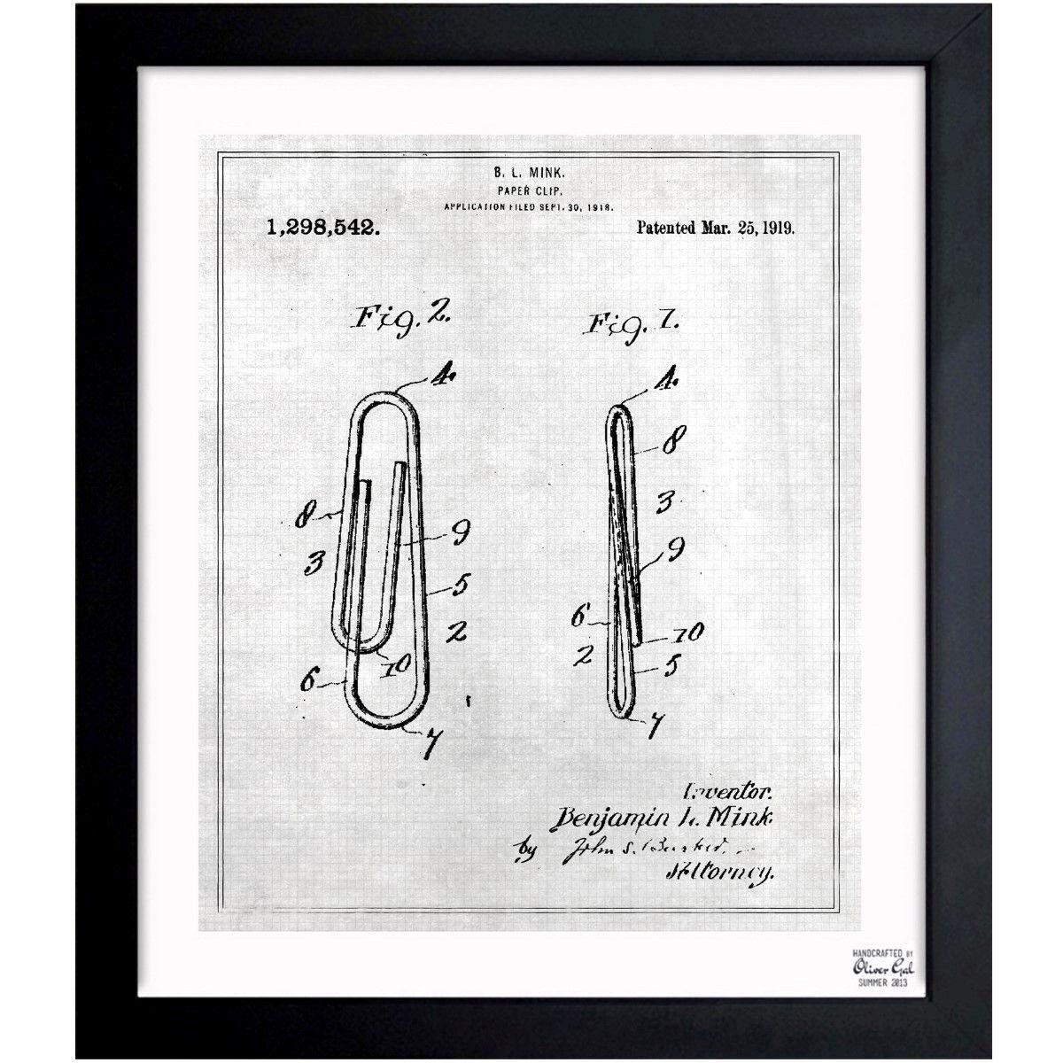 Oliver gal paper clip 1919 framed blueprint art paper clip art oliver gal paper clip 1919 framed blueprint art malvernweather Gallery