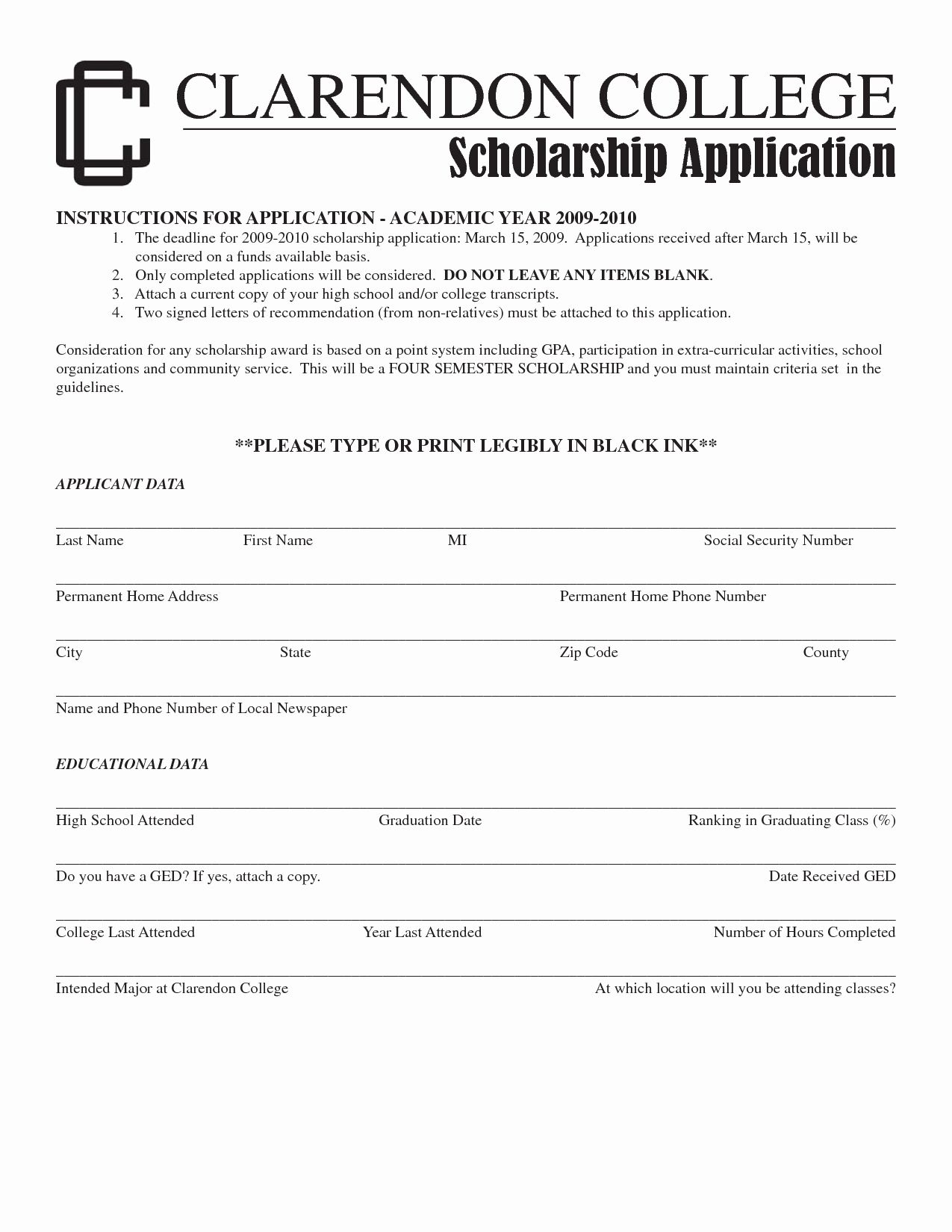 Scholarship Application form Template New Application for ...