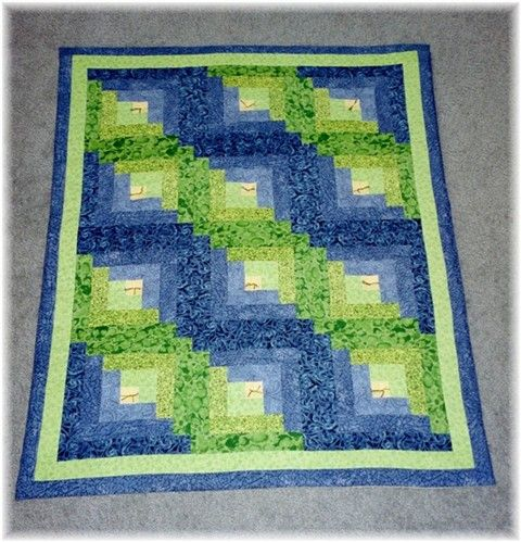 "HANDMADE IN USA 11 1//2/"" Sq QUILT BLOCKS-Log Cabin in Prints of Blue"