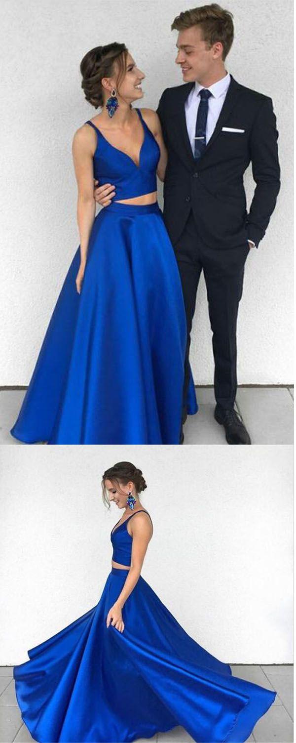 Two piece deep vneck royal blue satin prom dress evening dress