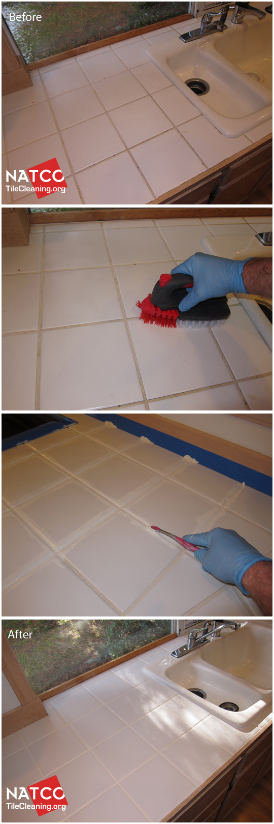 How To Clean, Colorseal And Restore A Tile Countertop With White Grout  Lines.