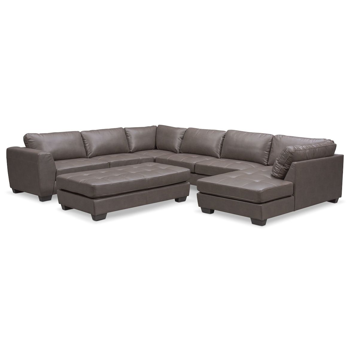 Santana 4 Piece Sectional With Chaise Furniture Grey Leather