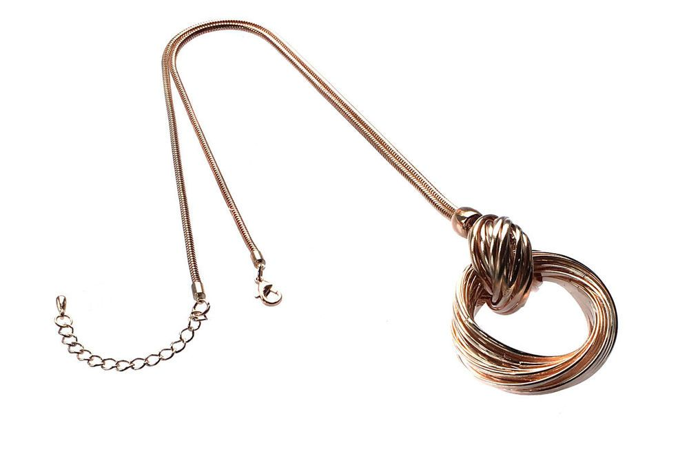 Chunky Rose Gold rings pendant and long necklace costume jewellery