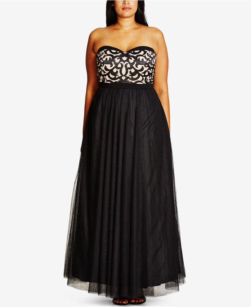 City Chic Plus Size Lace Strapless Gown - City Chic - Plus ...