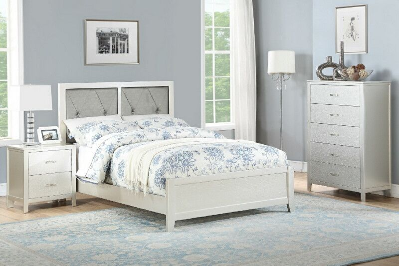 Poundex F9426F 3 pc silver finish wood upholstered panel bed full ...
