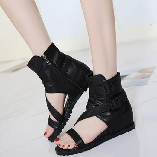 Wedge 2017 Height Increasing Women Ankle Boots Medium Heel Sandals Black  Short Shoes Summer Cheap High