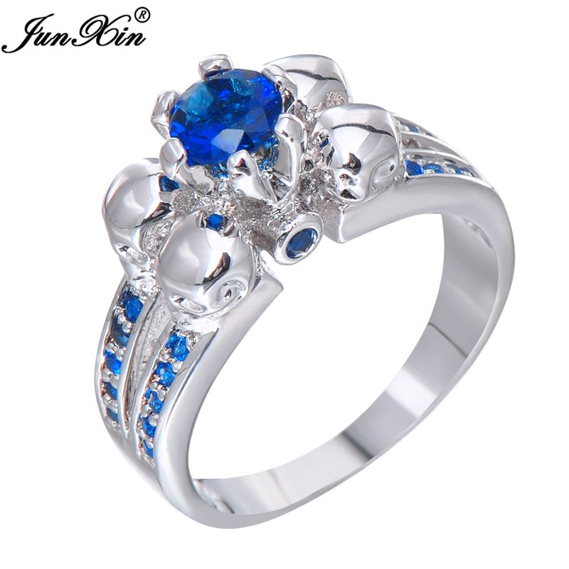 JUNXIN Blue Crystal Skull Ring Vintage Wedding Rings For Women Fashion White Gold Filled Jewelry Bague Femme RW1218