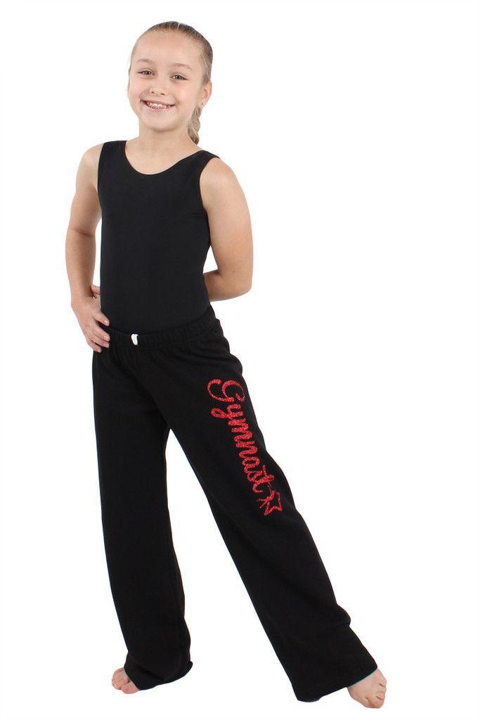 9e2ff542230e Girls Glitter Gymnast Black Fleece Sweatpants  flipnfit  gymnast ...