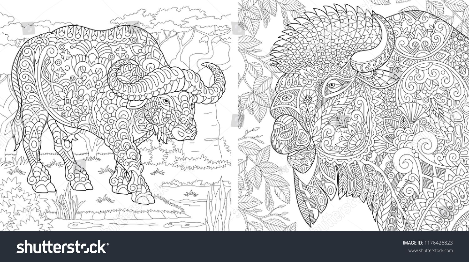 Coloring Pages Coloring Book For Adults Colouring Pictures With Buffalo And Bison Antistress Freehand Sketch Coloring Books Coloring Pages Drawing Sketches