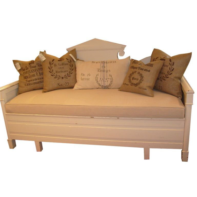 Austin Antique Furniture Texas French European Antiques   Antique White  Swedish Sofa With Pull Out