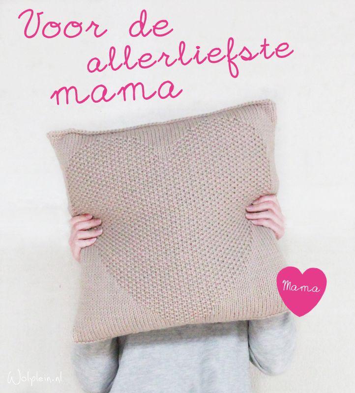 Kussen breien met hart   GRATIS patroon   wolplein nl   Breien   Pinterest   Crochet, Tapestry