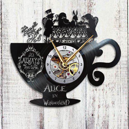 Home Decor Vintage Clock Alice In Wonderland Wall Art Handmade Vinyl Record Accessories Room Interior Clocks