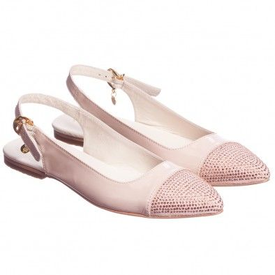Miss Blumarine Girls Pink Slingback Leather Shoes at Childrensalon.com