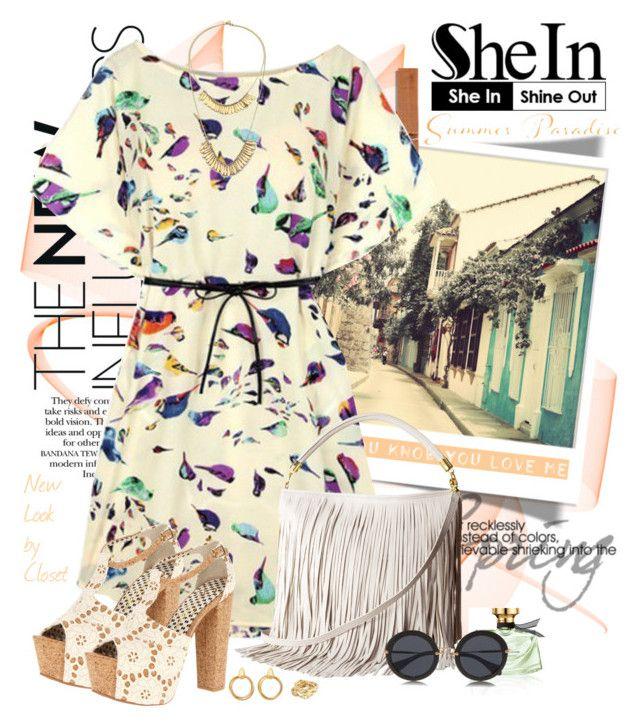 """SheIn - Print Shift Dress"" by claudia-nunes04 ❤ liked on Polyvore featuring Bulgari, H&M, Kate Spade, Alicia Marilyn Designs, Miu Miu and Jessica Simpson"