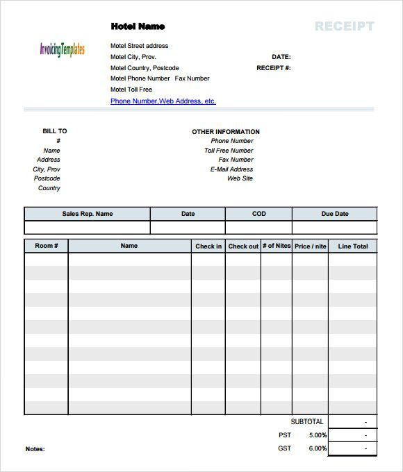 Hotel Receipt Template Invoice Template Word Invoice Template Invoice Format