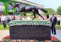 The Secretariat Statue in the paddock on Belmont Stakes day.  A blanket of carnations is always placed on it for that day.