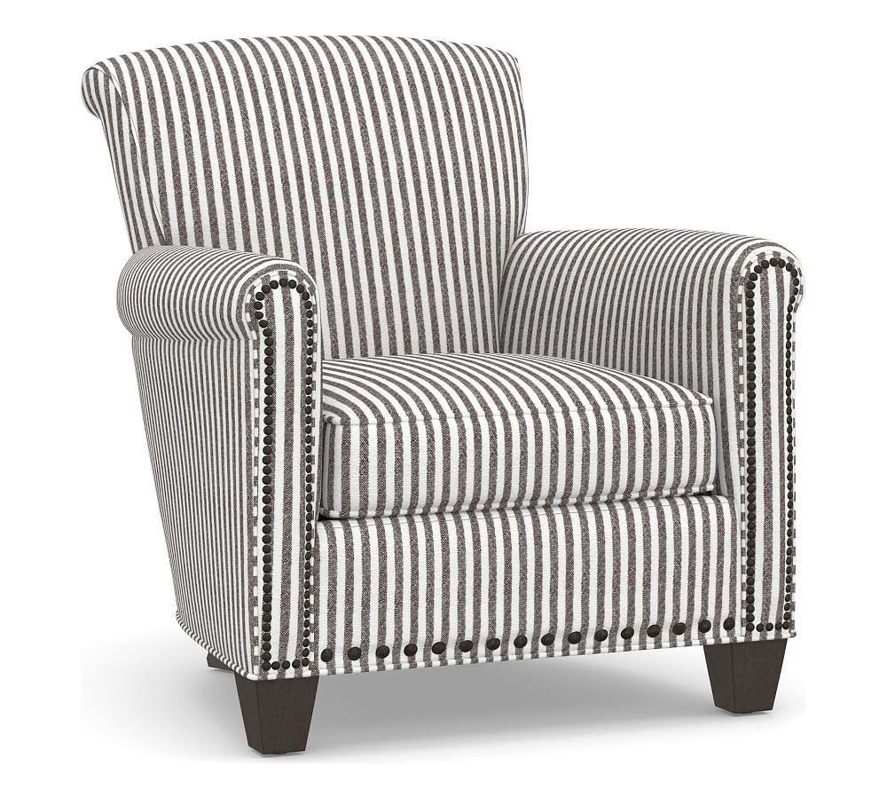 Upholstered Bedroom Chair With Arms All Weather Chairs Irving Roll Arm Armchair Nailheads Products Bronze Polyester Wrapped Cushions Vintage Stripe Black Ivory