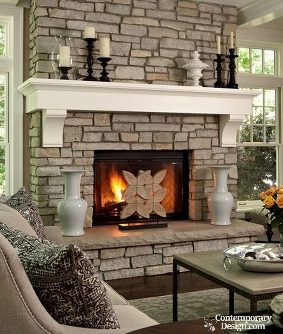 How To Decorate A Brick Fireplace White And Grey Brick Fireplaces Contemporary Accessories Home
