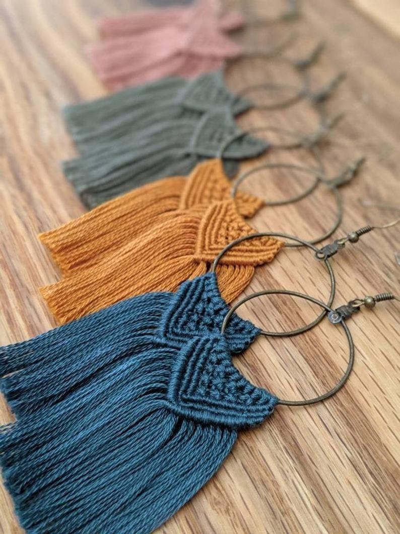 Photo of Macrame Earrings | Boho Fringe Earrings | Cute Earrings | Boho Accessories | Statement Earrings – Jewelry