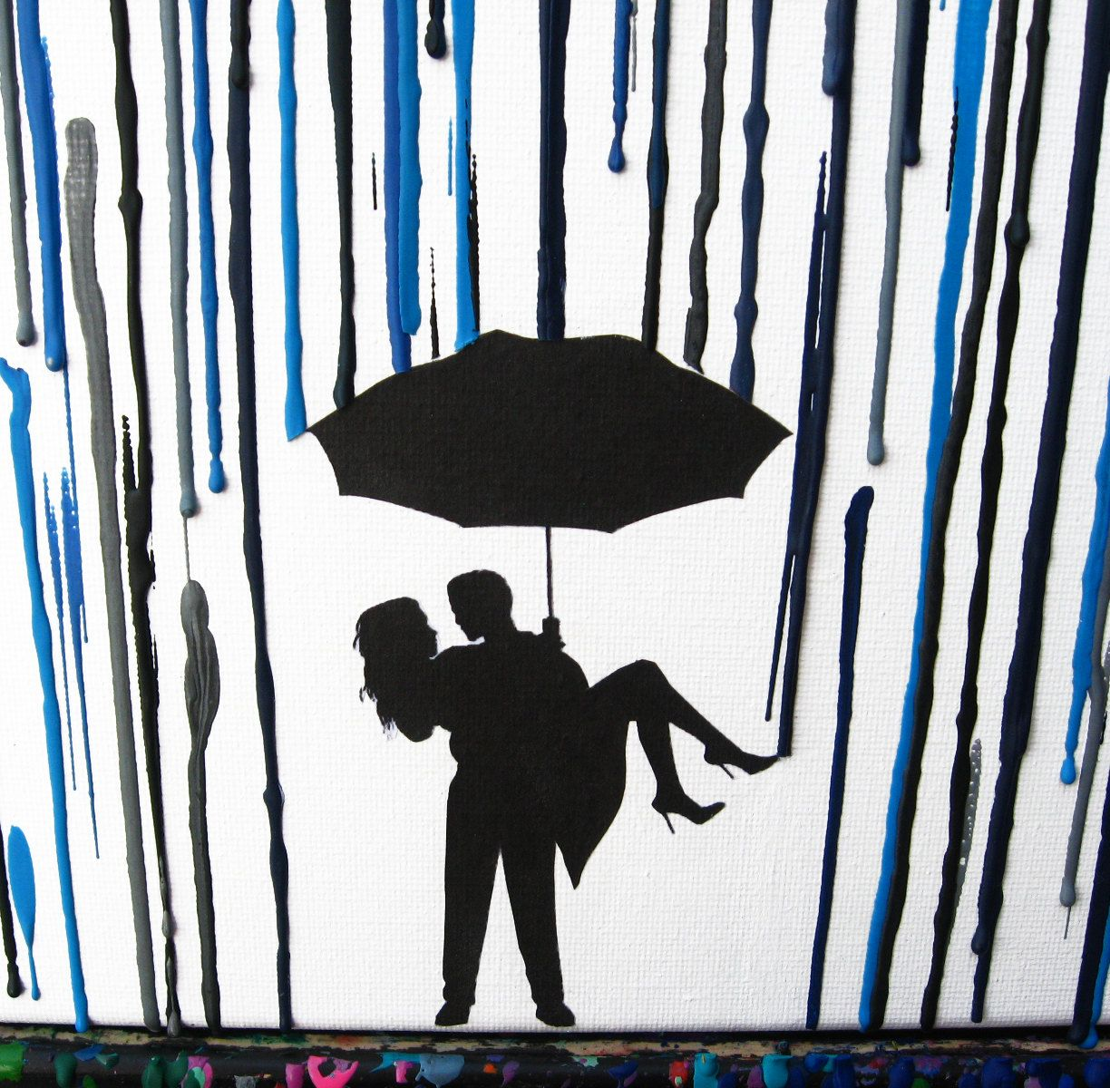 Rainy Day In The Rain Melted Crayon Art Silhouette Couple Under Umbrella Painting Custom Handmade Wedding Gift Wax