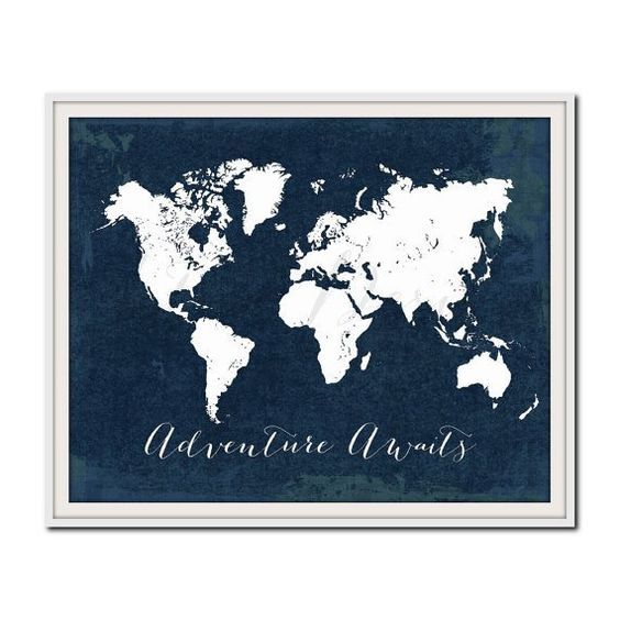 Adventure awaits world map poster in white and navy blue tones world map poster in white and navy blue tones featuring a travel gumiabroncs Choice Image