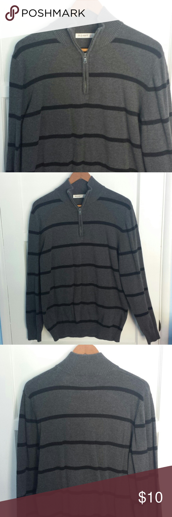 Old Navy Mens Sweater This is a used gray sweater with black lines ...