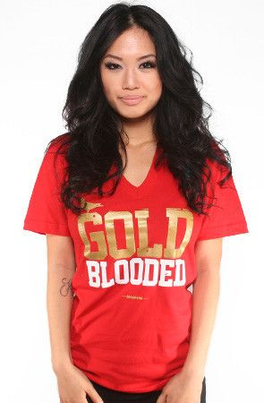 Adapt Advancers — GOLD BLOODED Women s Red Gold V-Neck f02996e1098