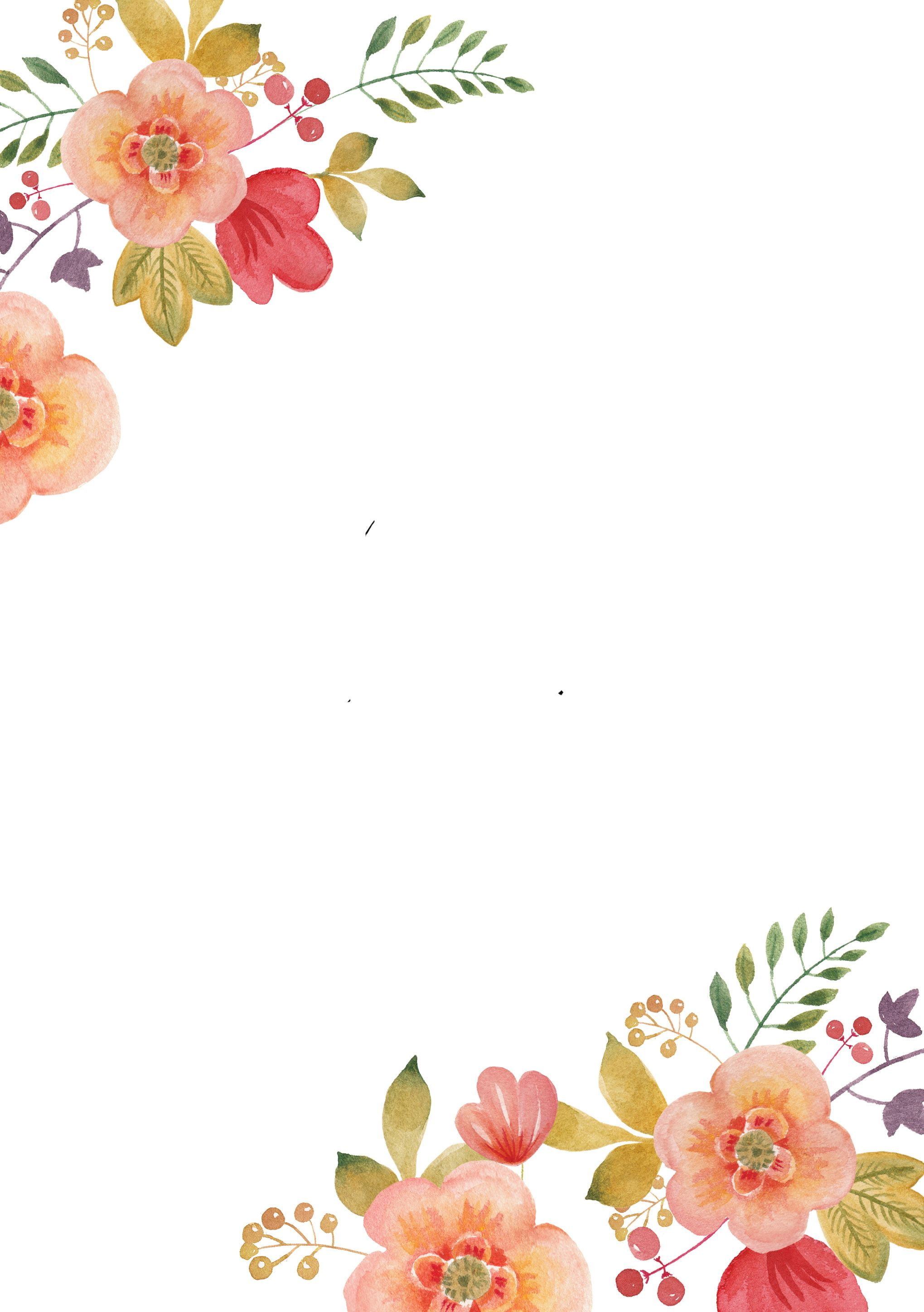 Fabulous image in watercolor floral border paper printable