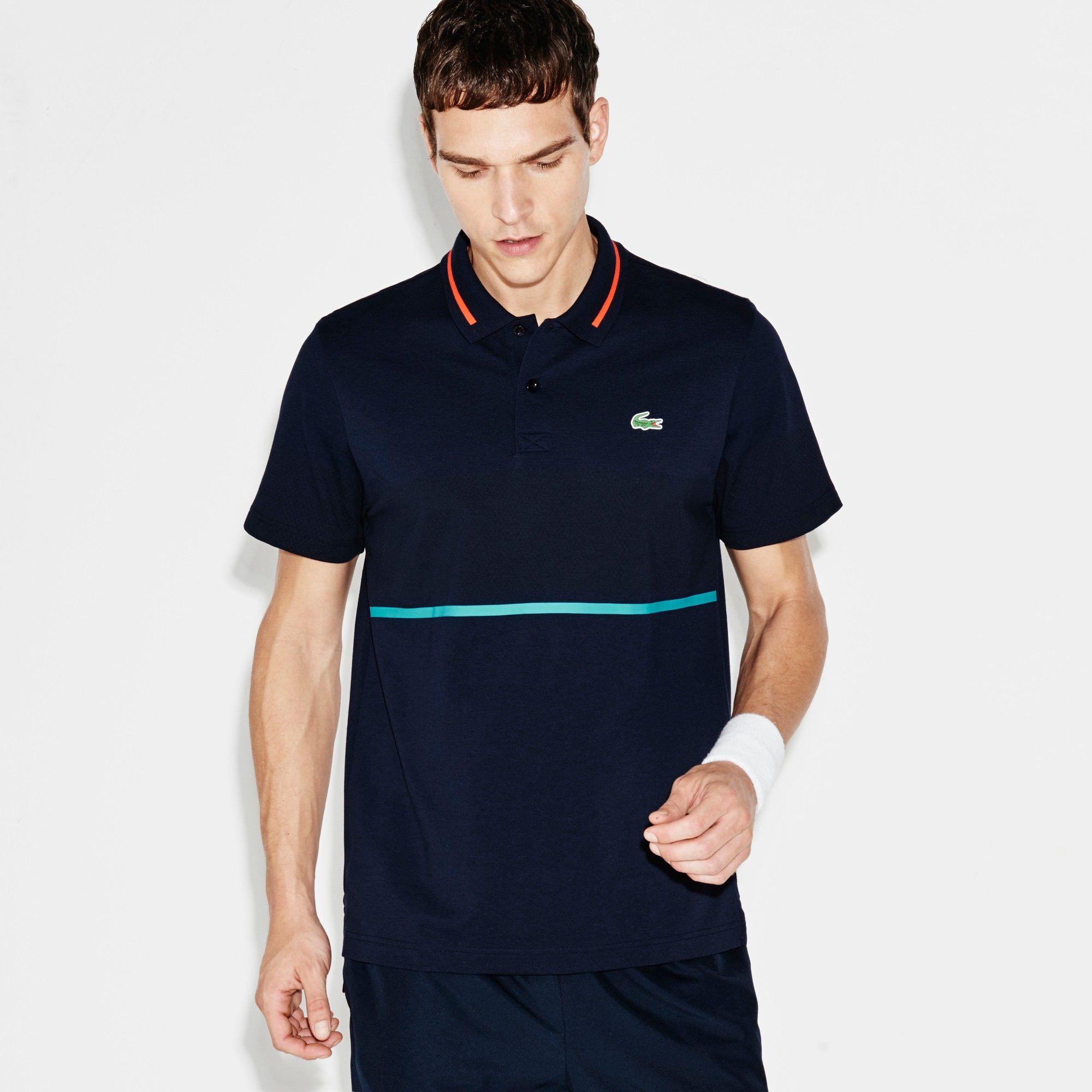 bdd0992c LACOSTE Men's SPORT Resistant Print Piqué Tennis Polo Shirt - navy blue/etna  red-oceani. #lacoste #cloth #