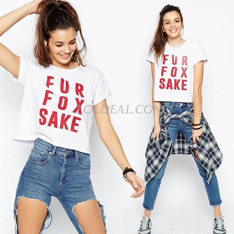 Red Letters Printed Short Sleeve T-shirt