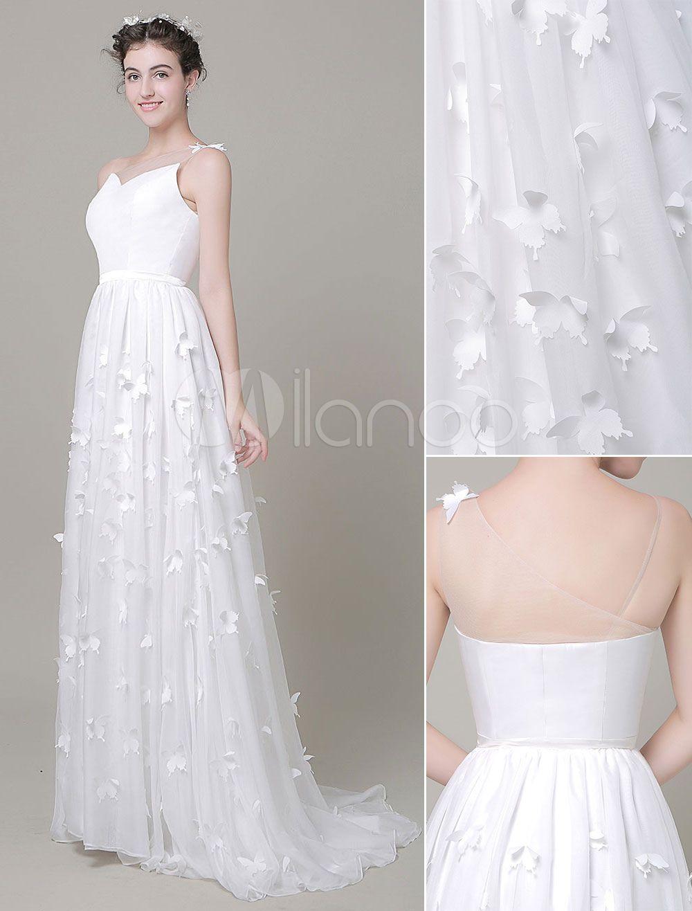 Robe de mariée ivoire exquise A-ligne avec noeud cou translucide