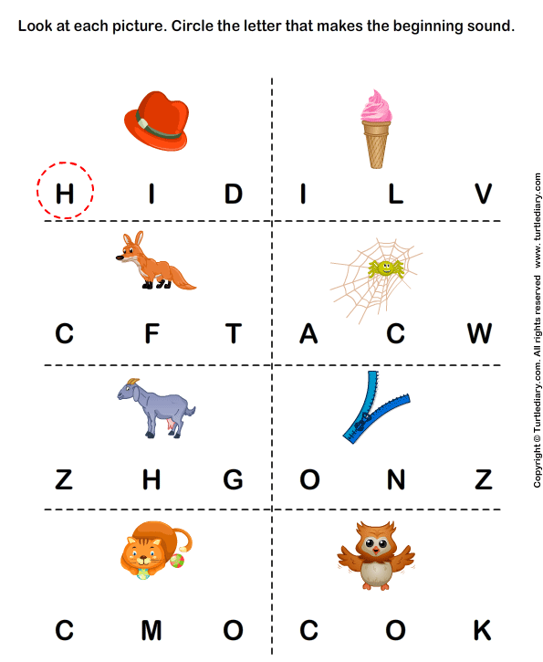 Phonics Worksheets - Identify The Beginning Sound Of Words 1