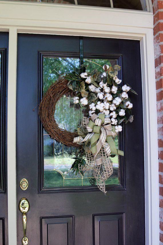 Farmhouse wreath for front door with Cotton, Double door cotton wreath, Year Round wreath, Summer wreath, Shabby Chic Rustic Country decor #doubledoorwreaths