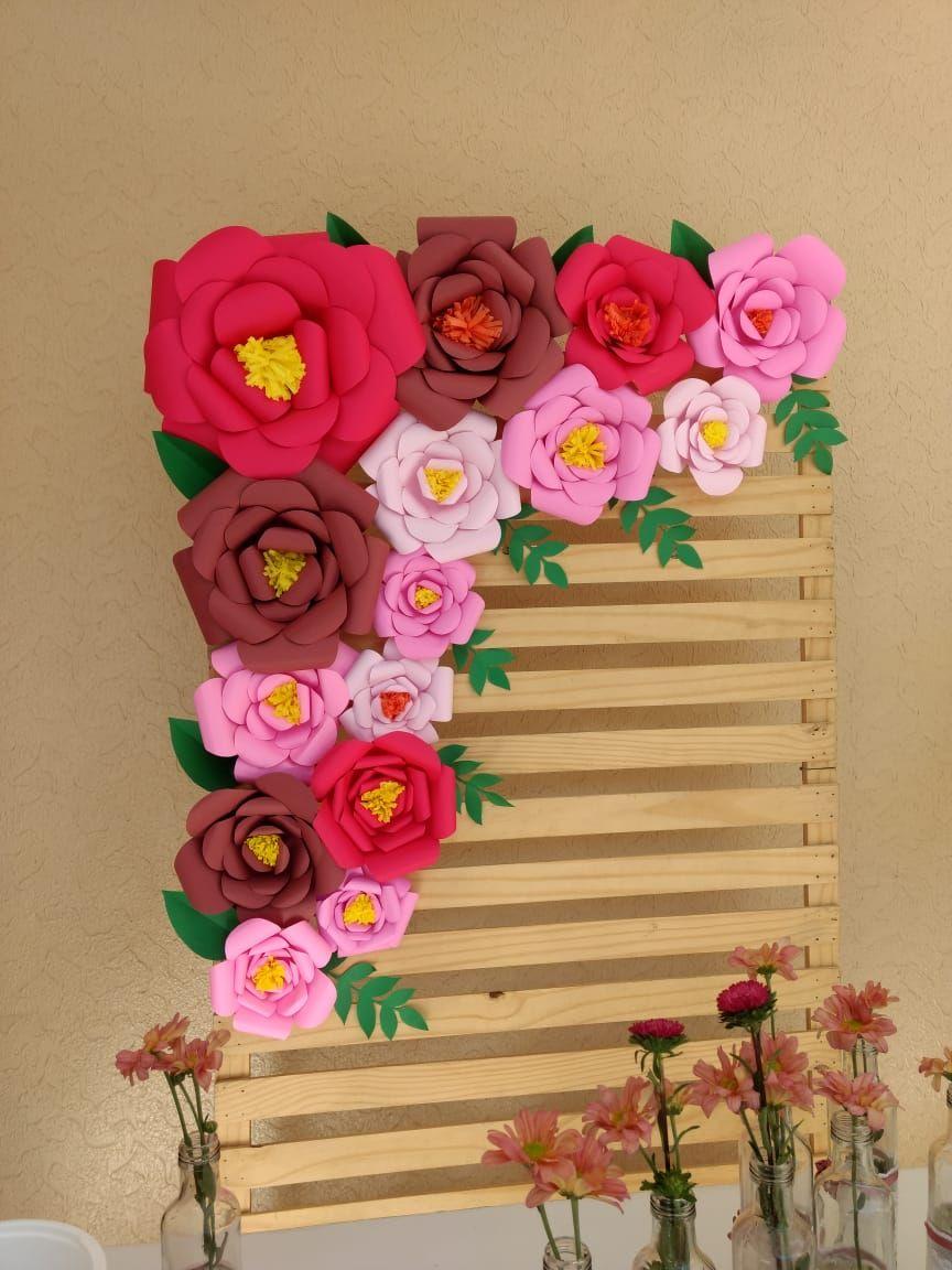 Painel Rosa Gigante   Decoração de festa simples, Flores de ...